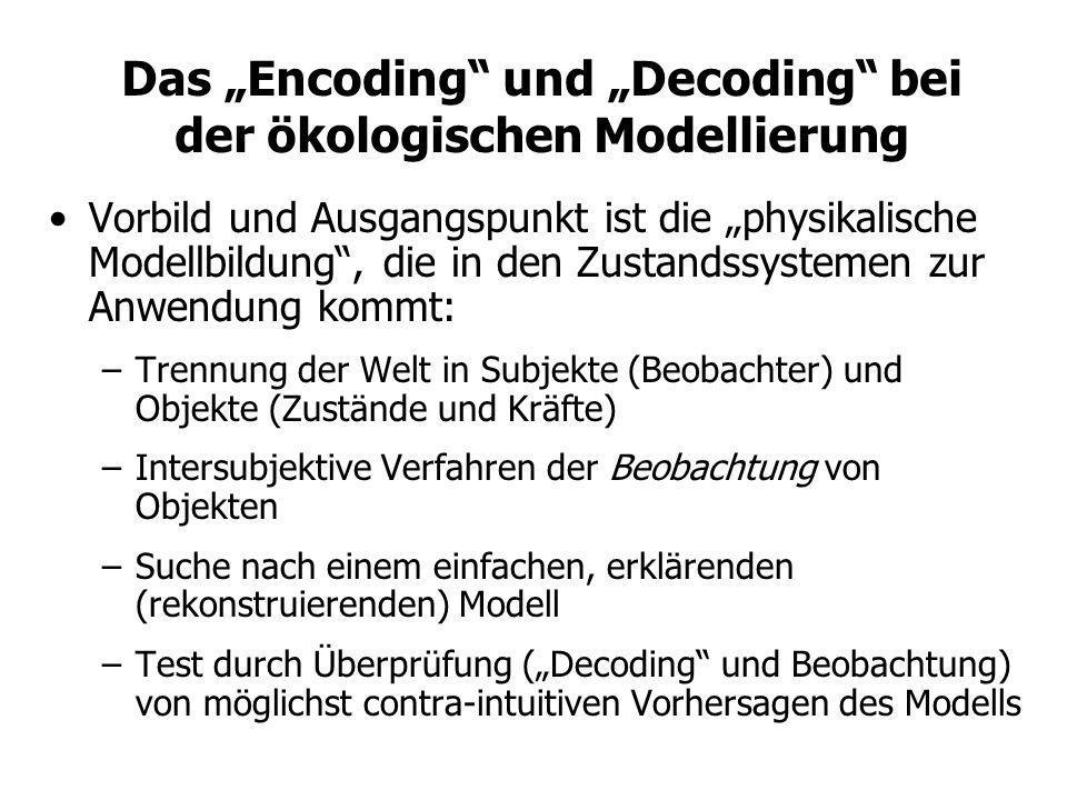 Das Encoding und Decoding bei der ökologischen Modellierung Vorbild und Ausgangspunkt ist die physikalische Modellbildung, die in den Zustandssystemen