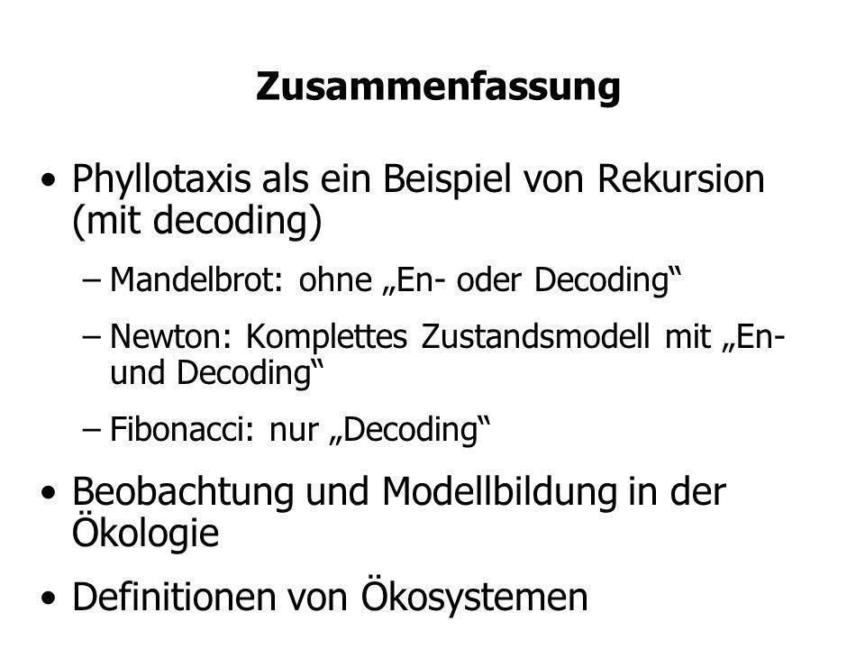Zusammenfassung Phyllotaxis als ein Beispiel von Rekursion (mit decoding) –Mandelbrot: ohne En- oder Decoding –Newton: Komplettes Zustandsmodell mit E