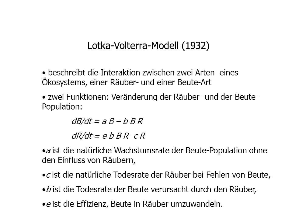 Lotka-Volterra-Modell (1932) beschreibt die Interaktion zwischen zwei Arten eines Ökosystems, einer Räuber- und einer Beute-Art zwei Funktionen: Veränderung der Räuber- und der Beute- Population: dB/dt = a B – b B R dR/dt = e b B R- c R a ist die natürliche Wachstumsrate der Beute-Population ohne den Einfluss von Räubern, c ist die natürliche Todesrate der Räuber bei Fehlen von Beute, b ist die Todesrate der Beute verursacht durch den Räuber, e ist die Effizienz, Beute in Räuber umzuwandeln.