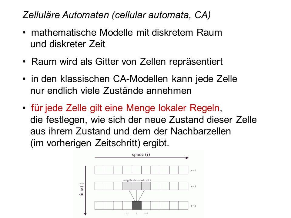 Zelluläre Automaten (cellular automata, CA) mathematische Modelle mit diskretem Raum und diskreter Zeit Raum wird als Gitter von Zellen repräsentiert in den klassischen CA-Modellen kann jede Zelle nur endlich viele Zustände annehmen für jede Zelle gilt eine Menge lokaler Regeln, die festlegen, wie sich der neue Zustand dieser Zelle aus ihrem Zustand und dem der Nachbarzellen (im vorherigen Zeitschritt) ergibt.