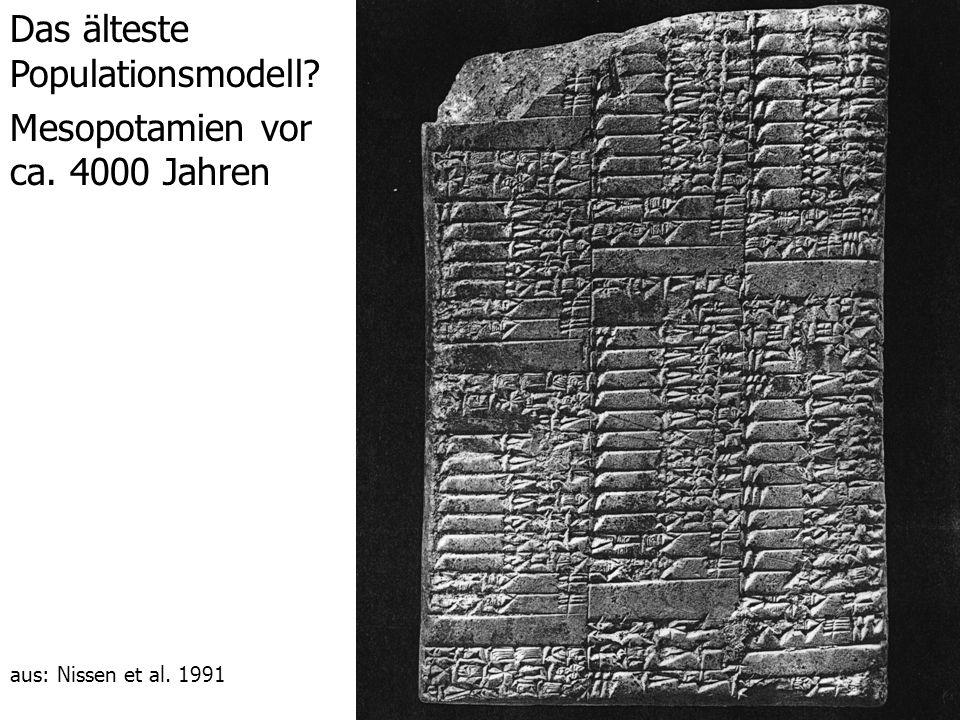 Das älteste Populationsmodell? Mesopotamien vor ca. 4000 Jahren aus: Nissen et al. 1991