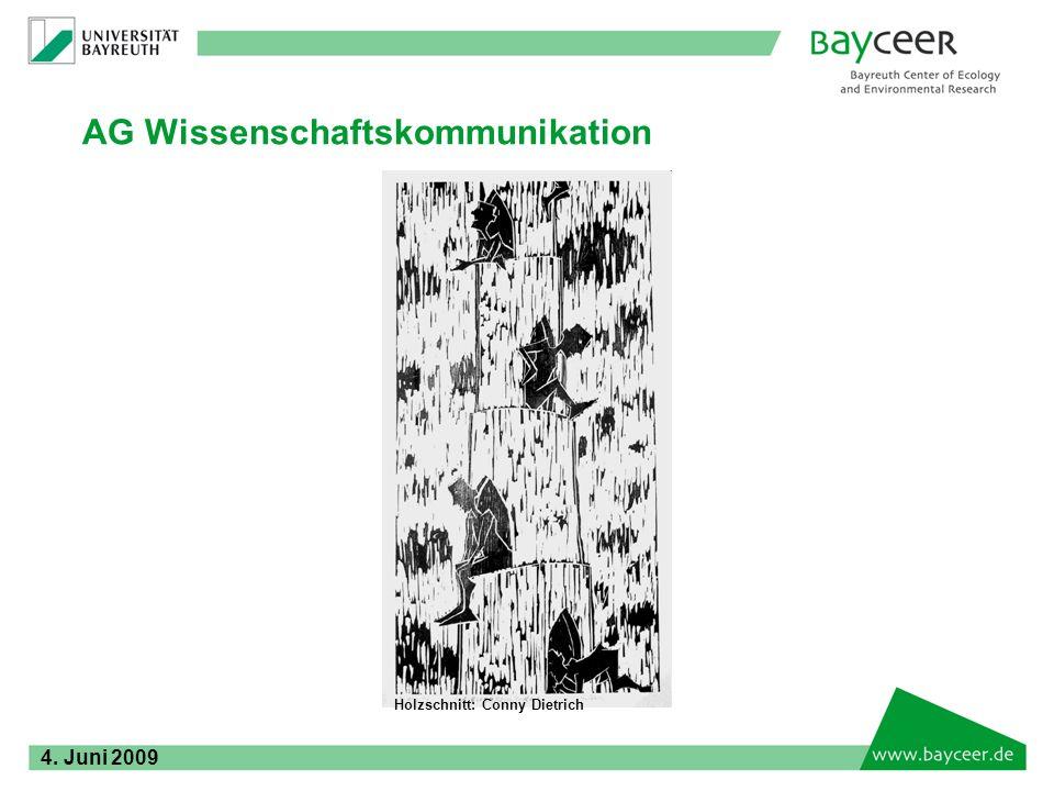 AG Wissenschaftskommunikation Holzschnitt: Conny Dietrich 4. Juni 2009