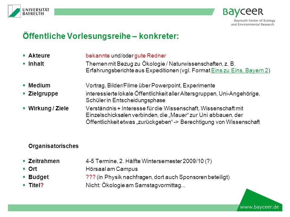 Öffentliche Vorlesungsreihe – konkreter: Akteurebekannte und/oder gute Redner InhaltThemen mit Bezug zu Ökologie / Naturwissenschaften, z.