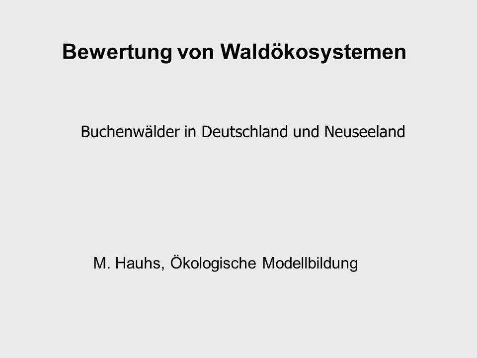Die Vorträge Deutschland –Geoökologische Grundlagen: Buche in Bayern (UK) Beispiel Ebrach (PD) –Nutzungsfragen: Naturschutz & Forst (PN) BWL, VWL (KF) Neuseeland –Geoökologische Grundlagen: Buche auf der Südinse( LF) Beispiel Station Creek (BT) –Nutzungsfragen & Rolle der Modelle: Naturschutz & BWL (JZ) Forstwirtschaft (JK)