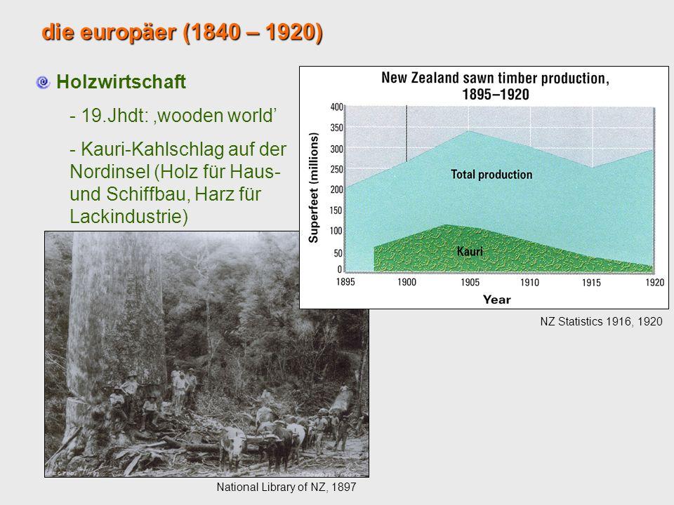 die europäer (1840 – 1920) Holzwirtschaft - 19.Jhdt: wooden world - Kauri-Kahlschlag auf der Nordinsel (Holz für Haus- und Schiffbau, Harz für Lackind