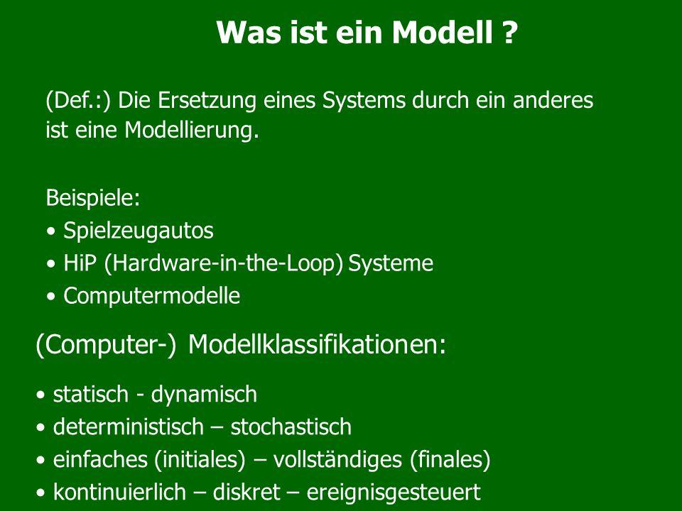 (Def.:) Die Ersetzung eines Systems durch ein anderes ist eine Modellierung. Beispiele: Spielzeugautos HiP (Hardware-in-the-Loop) Systeme Computermode
