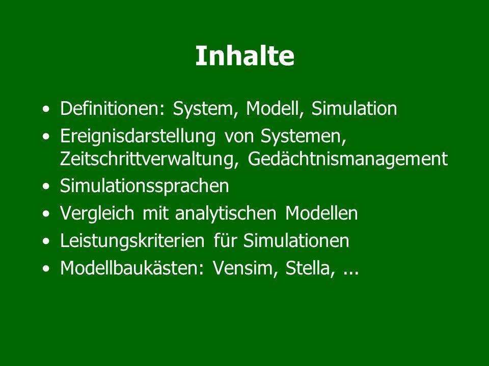 Inhalte Definitionen: System, Modell, Simulation Ereignisdarstellung von Systemen, Zeitschrittverwaltung, Gedächtnismanagement Simulationssprachen Ver