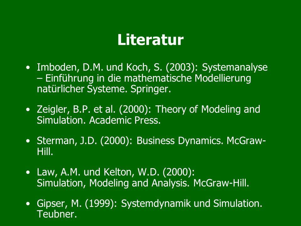 Literatur Imboden, D.M. und Koch, S. (2003): Systemanalyse – Einführung in die mathematische Modellierung natürlicher Systeme. Springer. Zeigler, B.P.