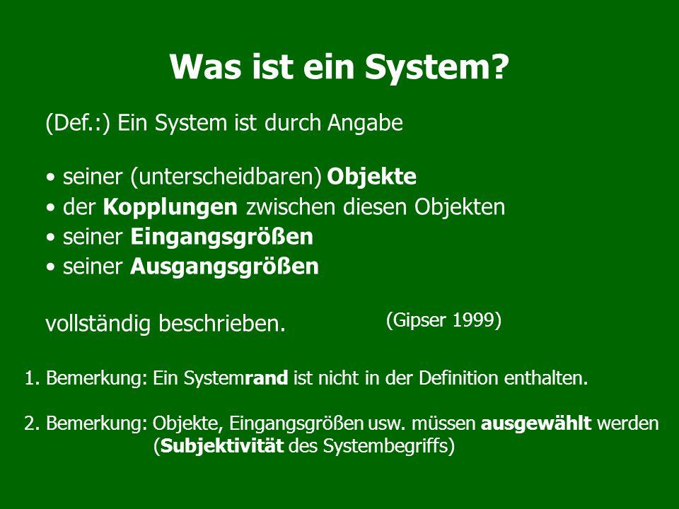 Was ist ein System? (Def.:) Ein System ist durch Angabe seiner (unterscheidbaren) Objekte der Kopplungen zwischen diesen Objekten seiner Eingangsgröße