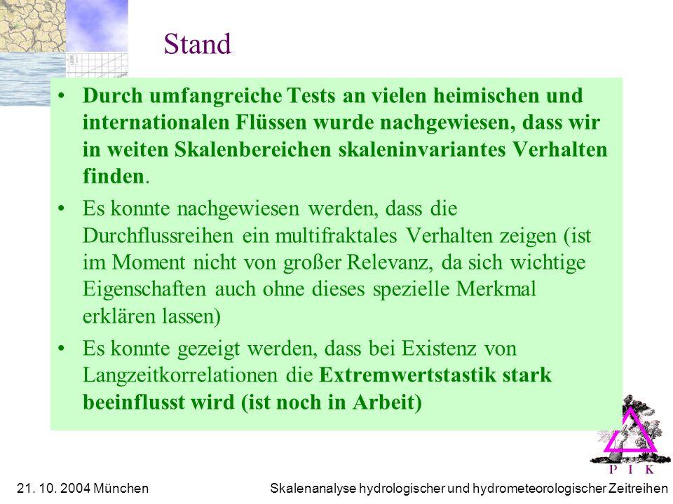 21. 10. 2004 München Skalenanalyse hydrologischer und hydrometeorologischer Zeitreihen Stand Durch umfangreiche Tests an vielen heimischen und interna