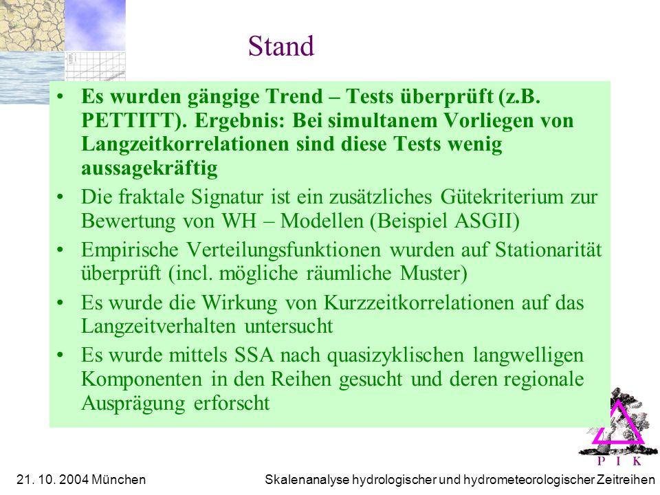 21. 10. 2004 München Skalenanalyse hydrologischer und hydrometeorologischer Zeitreihen Stand Es wurden gängige Trend – Tests überprüft (z.B. PETTITT).