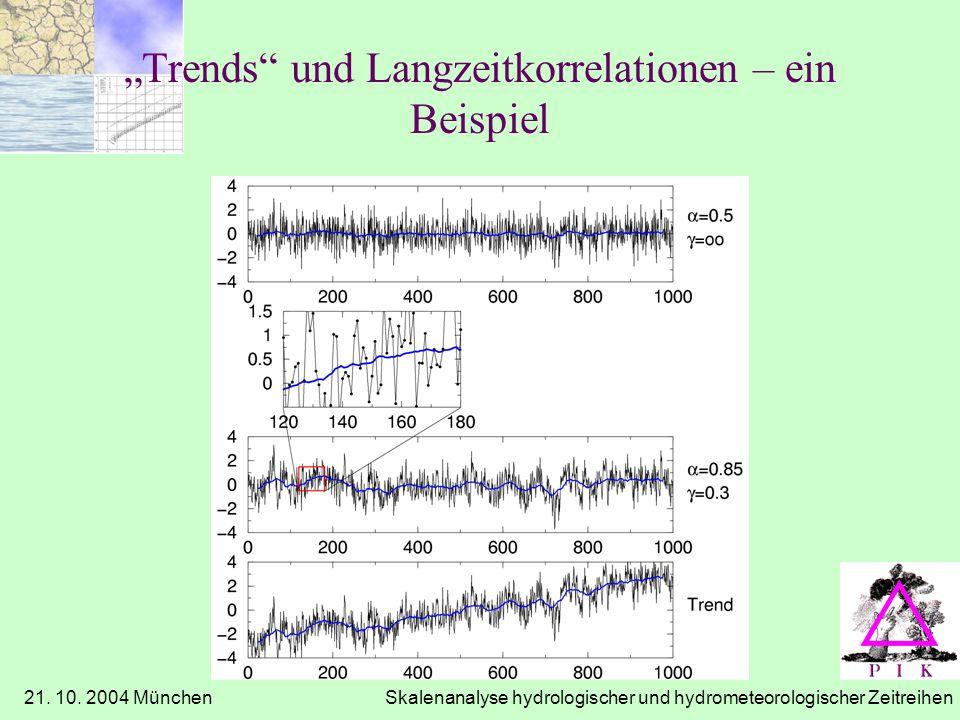 21. 10. 2004 München Skalenanalyse hydrologischer und hydrometeorologischer Zeitreihen Trends und Langzeitkorrelationen – ein Beispiel