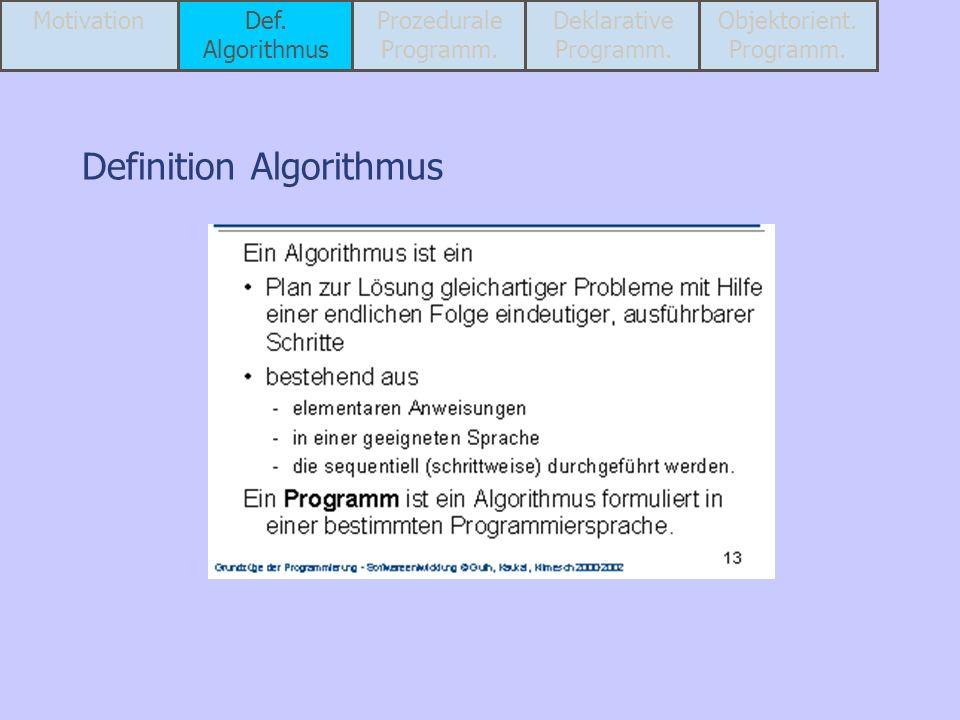 Definition Algorithmus MotivationDef. Algorithmus Prozedurale Programm. Deklarative Programm. Objektorient. Programm.