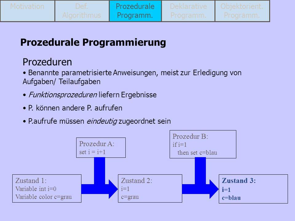 Prozedurale Programmierung Prozeduren Benannte parametrisierte Anweisungen, meist zur Erledigung von Aufgaben/ Teilaufgaben Funktionsprozeduren liefer