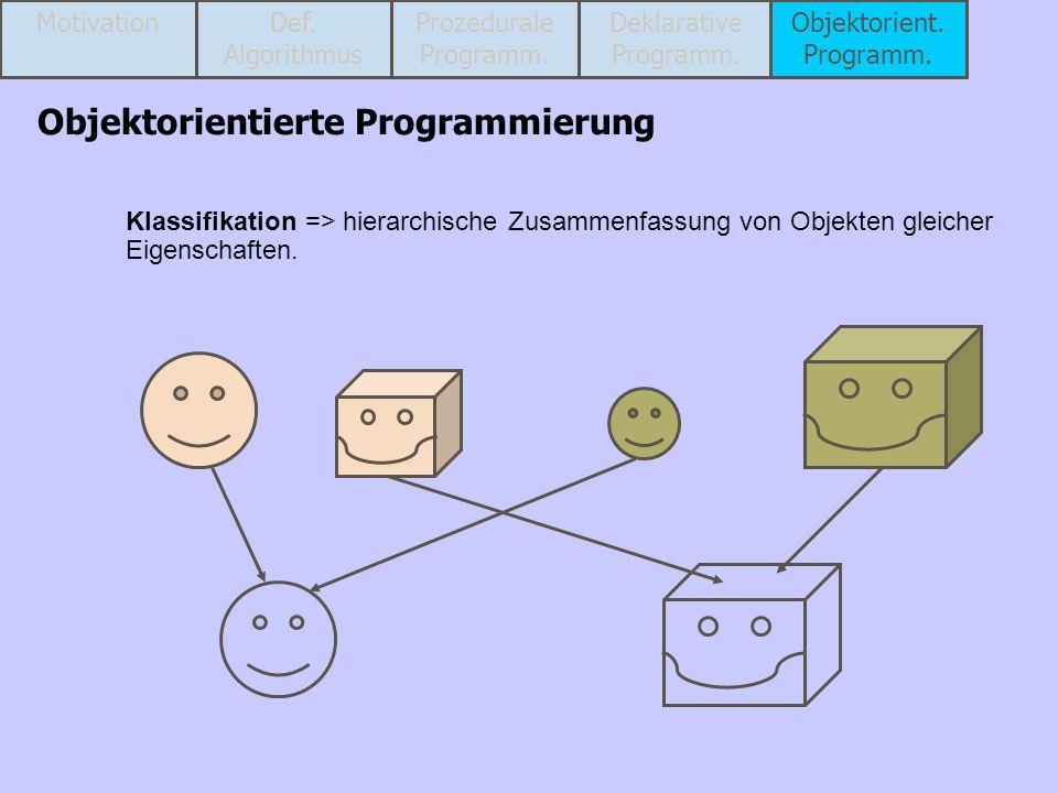Klassifikation => hierarchische Zusammenfassung von Objekten gleicher Eigenschaften. Objektorientierte Programmierung MotivationProzedurale Programm.