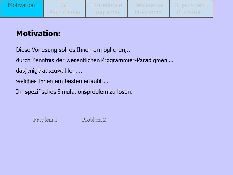 Problem: Modellierung des waagerechten Wurfes Zeit Höhe m s Weg Höhe m m MotivationDef.