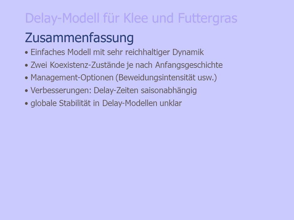 Zusammenfassung Einfaches Modell mit sehr reichhaltiger Dynamik Zwei Koexistenz-Zustände je nach Anfangsgeschichte Management-Optionen (Beweidungsinte