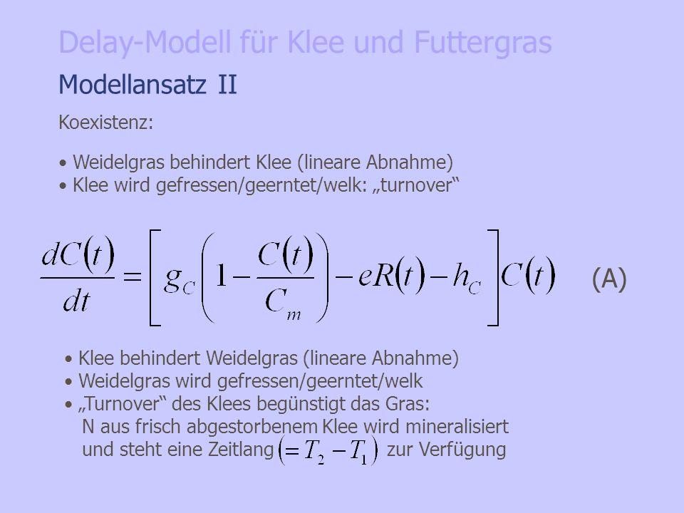 Modellansatz II Koexistenz: Weidelgras behindert Klee (lineare Abnahme) Klee wird gefressen/geerntet/welk: turnover (A) Klee behindert Weidelgras (lin