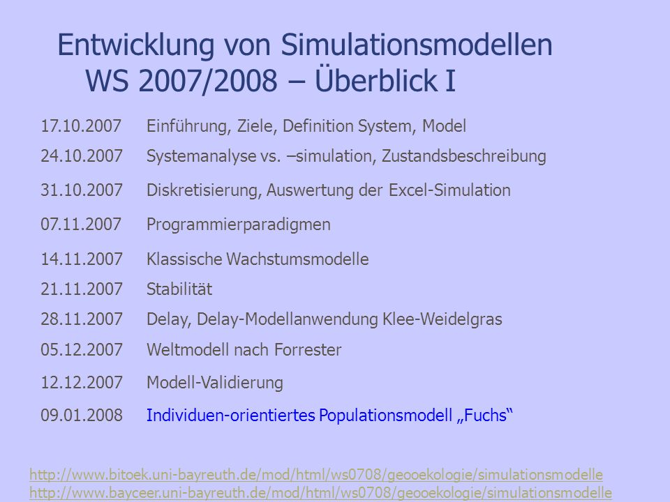 Entwicklung von Simulationsmodellen WS 2007/08 Dr. Falk-Juri Knauft Mittwoch 9.15 Uhr – 10.00 Uhr S25 Praktikum zur Entwicklung von Simulationsmodelle