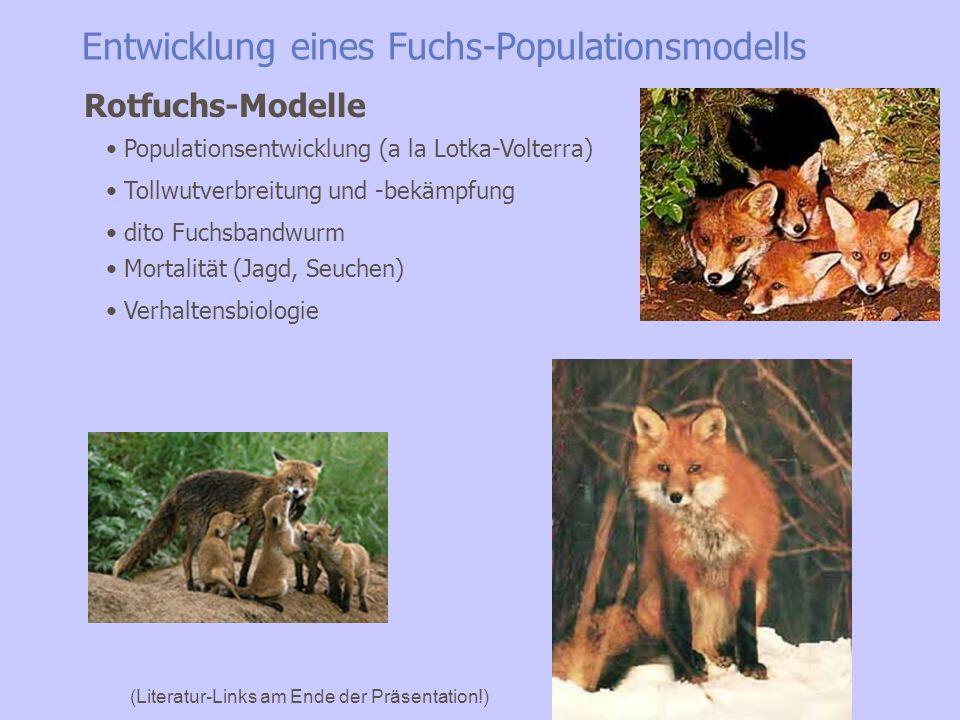 Entwicklung eines Fuchs-Populationsmodells H.-H. Thulke et al. :Ecological Modelling 117 (1999) 179–202 (Literatur-Links am Ende der Präsentation!) Po