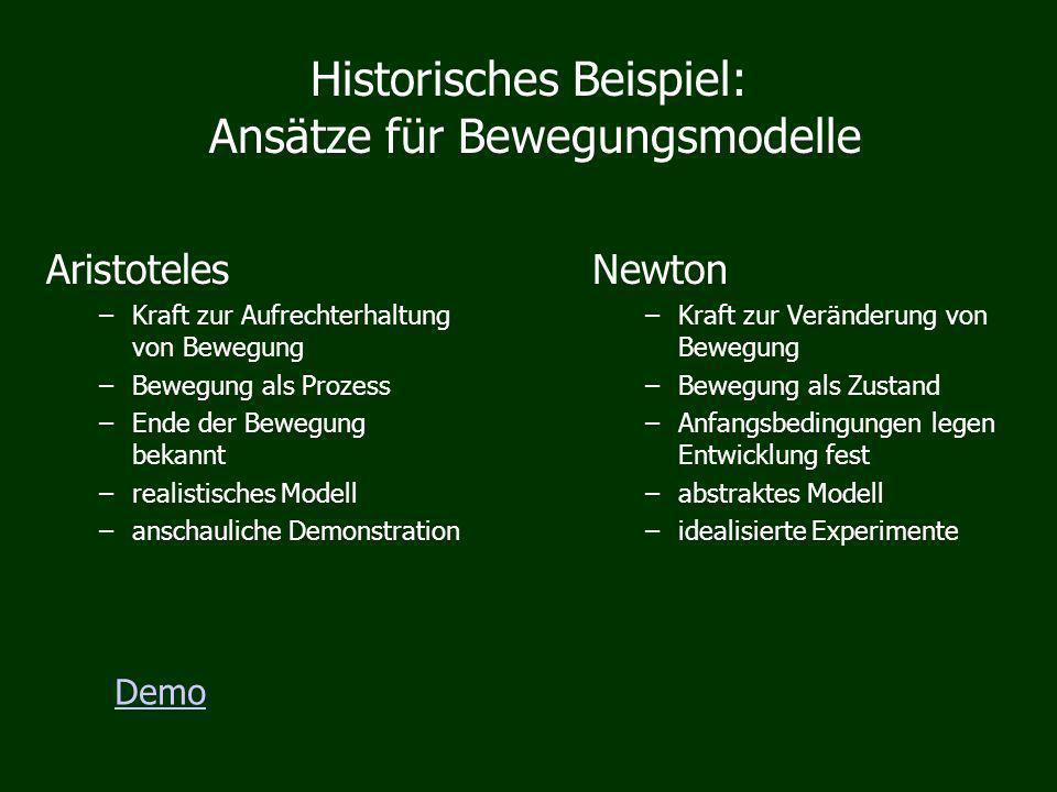 Historisches Beispiel: Ansätze für Bewegungsmodelle Newton –Kraft zur Veränderung von Bewegung –Bewegung als Zustand –Anfangsbedingungen legen Entwick
