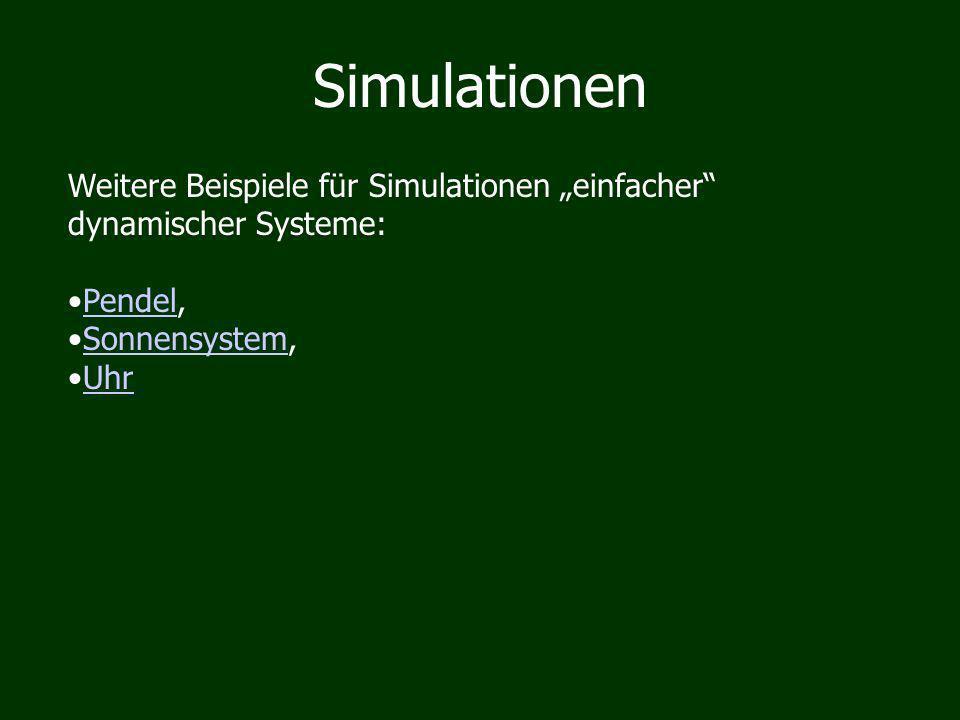 Simulationen Weitere Beispiele für Simulationen einfacher dynamischer Systeme: Pendel,Pendel Sonnensystem,Sonnensystem Uhr