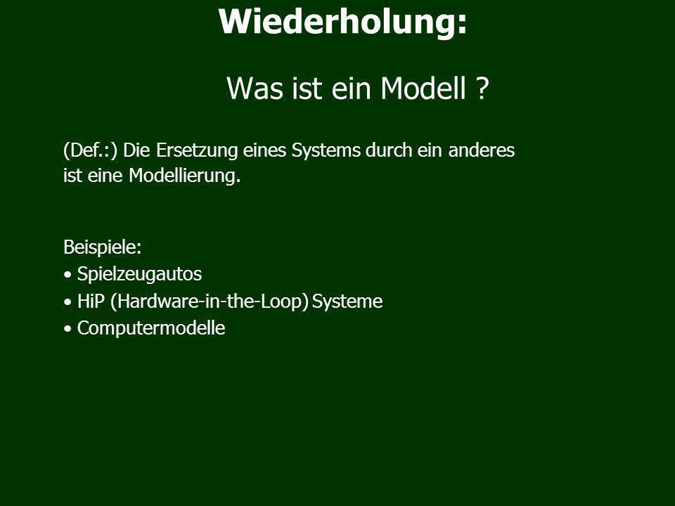 (Def.:) Die Ersetzung eines Systems durch ein anderes ist eine Modellierung.