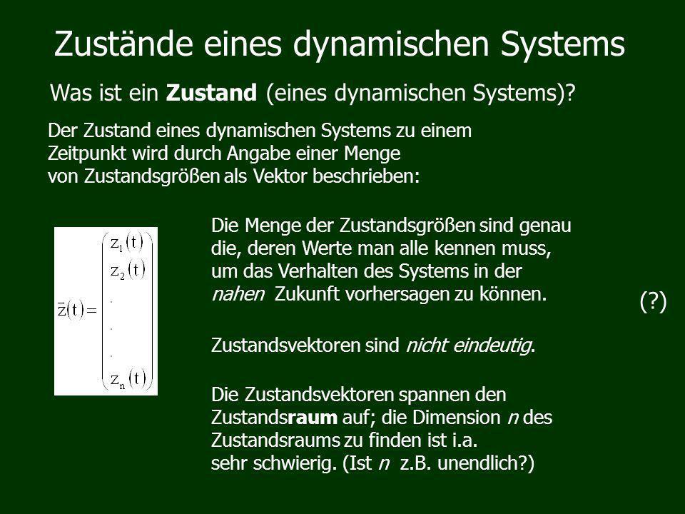 Zustände eines dynamischen Systems Was ist ein Zustand (eines dynamischen Systems)? Der Zustand eines dynamischen Systems zu einem Zeitpunkt wird durc