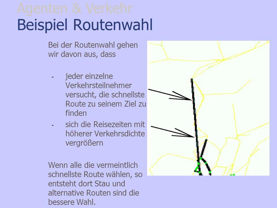 Beispiel Routenwahl Bei der Routenwahl gehen wir davon aus, dass - jeder einzelne Verkehrsteilnehmer versucht, die schnellste Route zu seinem Ziel zu