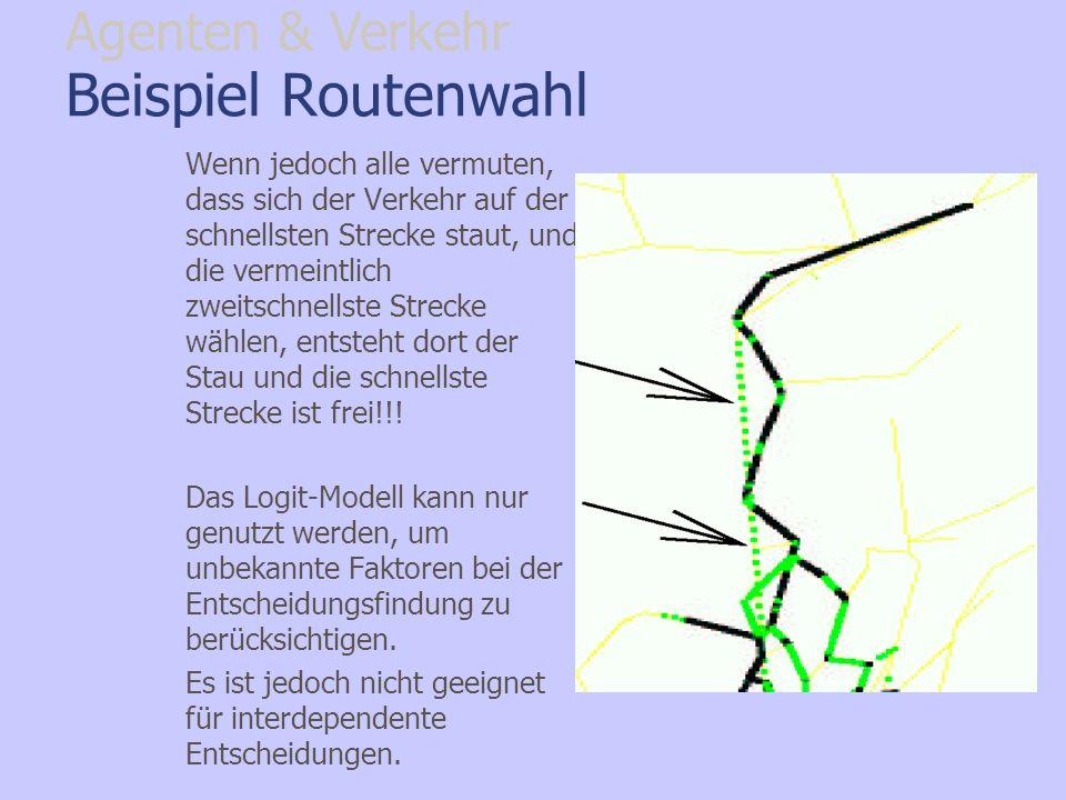 Beispiel Routenwahl Wenn jedoch alle vermuten, dass sich der Verkehr auf der schnellsten Strecke staut, und die vermeintlich zweitschnellste Strecke w
