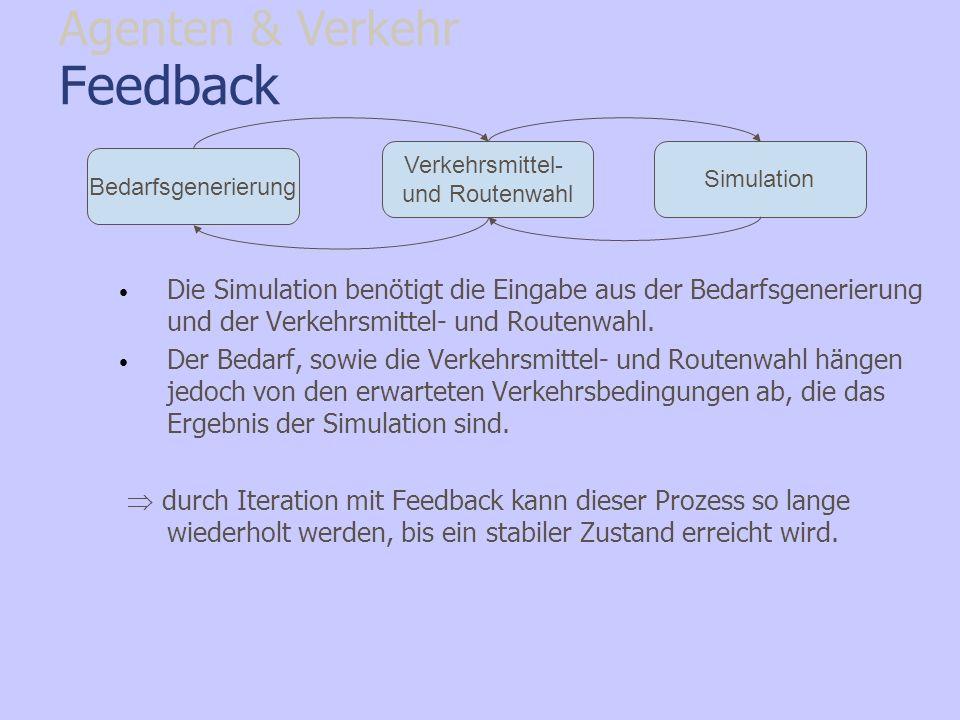 Feedback Die Simulation benötigt die Eingabe aus der Bedarfsgenerierung und der Verkehrsmittel- und Routenwahl. Der Bedarf, sowie die Verkehrsmittel-