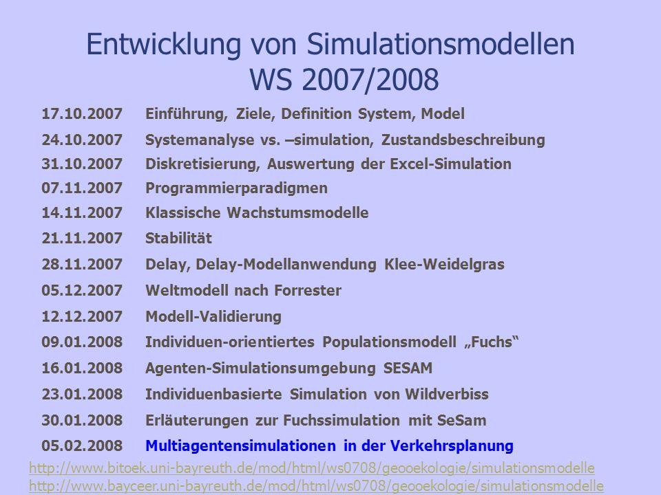 Entwicklung von Simulationsmodellen WS 2007/2008 17.10.2007 Einführung, Ziele, Definition System, Model 24.10.2007Systemanalyse vs. –simulation, Zusta