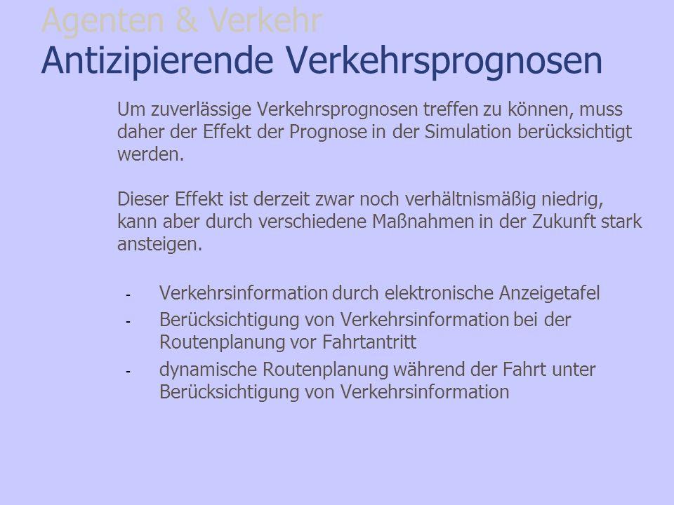 Antizipierende Verkehrsprognosen Um zuverlässige Verkehrsprognosen treffen zu können, muss daher der Effekt der Prognose in der Simulation berücksicht