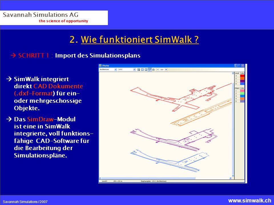 www.simwalk.ch Savannah Simulations / 2007 2. Wie funktioniert SimWalk ? Savannah Simulations AG the science of opportunity SCHRITT 1 : Import des Sim