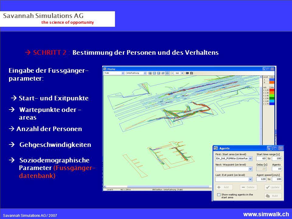 www.simwalk.ch Savannah Simulations AG / 2007 Savannah Simulations AG the science of opportunity SCHRITT 2 : Bestimmung der Personen und des Verhalten