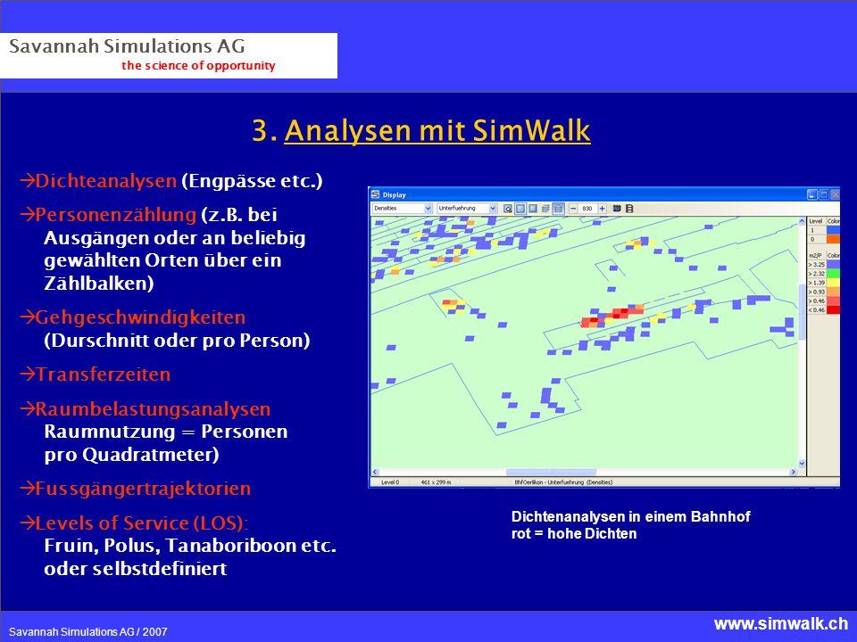 www.simwalk.ch Savannah Simulations AG / 2007 3. Analysen mit SimWalk Savannah Simulations AG the science of opportunity Dichteanalysen (Engpässe etc.