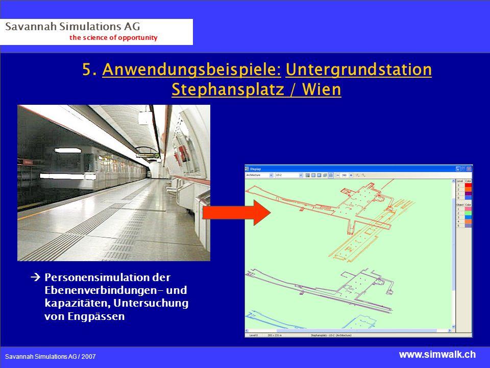 www.simwalk.ch Savannah Simulations AG / 2007 Savannah Simulations AG the science of opportunity 5. Anwendungsbeispiele: Untergrundstation Stephanspla