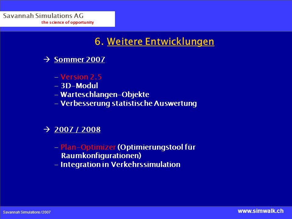 www.simwalk.ch Savannah Simulations / 2007 Savannah Simulations AG the science of opportunity 6. Weitere Entwicklungen Sommer 2007 - Version 2.5 - 3D-