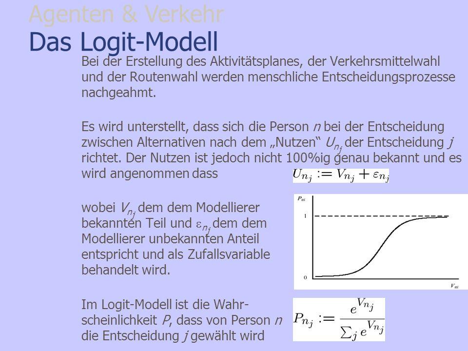 Das Logit-Modell Bei der Erstellung des Aktivitätsplanes, der Verkehrsmittelwahl und der Routenwahl werden menschliche Entscheidungsprozesse nachgeahm