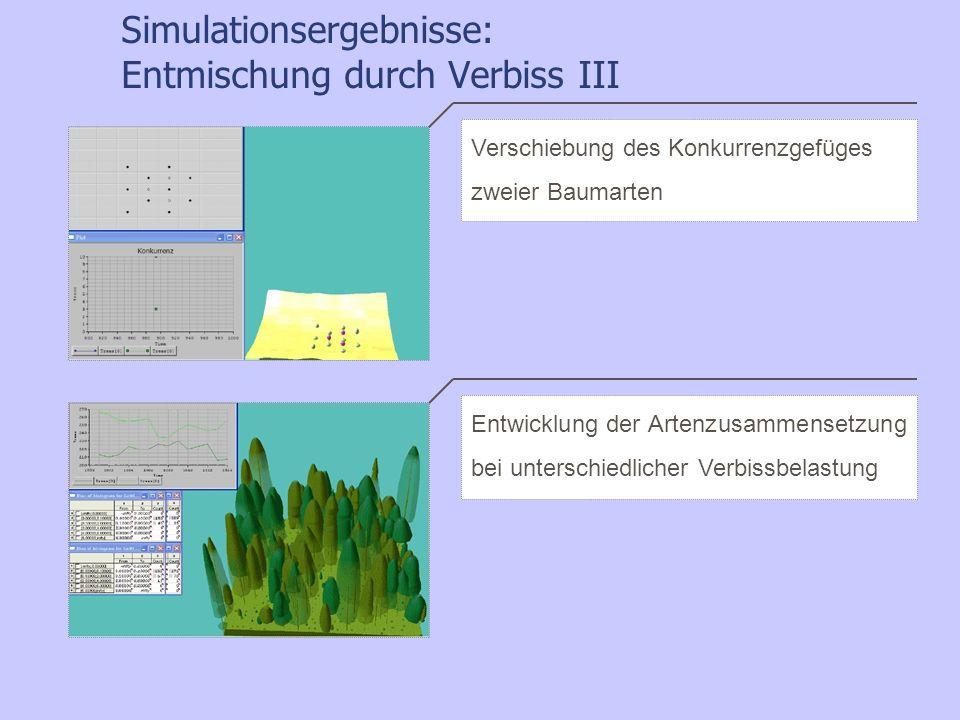 Simulationsergebnisse: Entmischung durch Verbiss III Entwicklung der Artenzusammensetzung bei unterschiedlicher Verbissbelastung Verschiebung des Konk