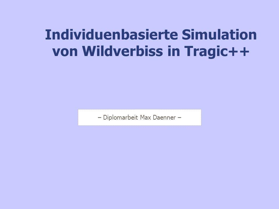 Simulationsergebnisse : Entmischung durch Verbiss I Im Rahmen dieses Szenariums wurde untersucht, wie stark sich unterschiedliche Populationsdichten auf die Entmischung eines Bestandes mit zwei Baumarten auswirken.