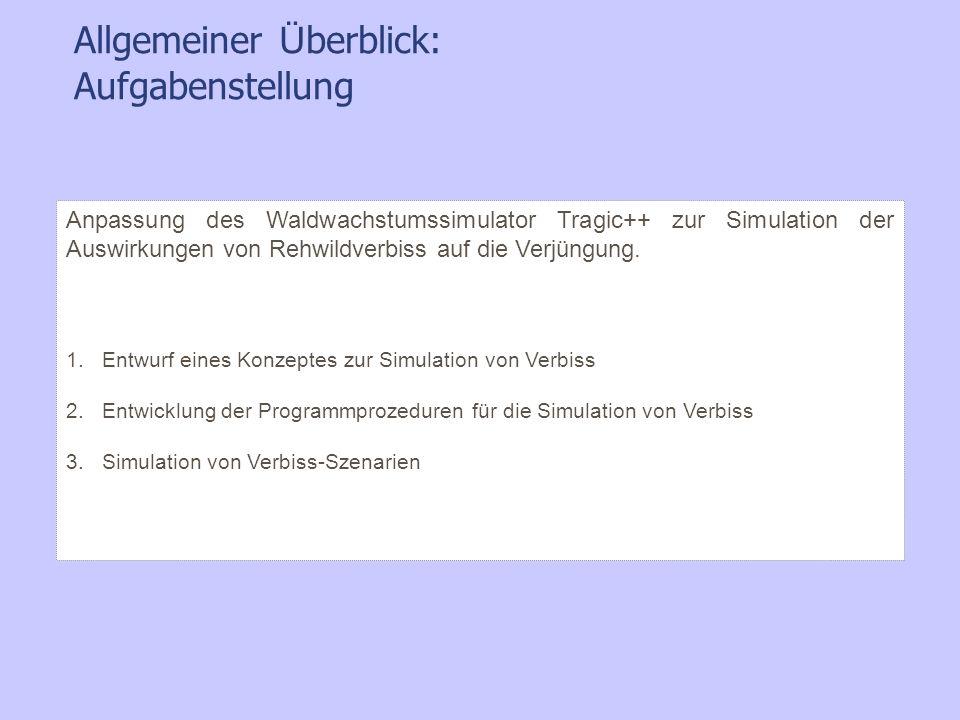 Allgemeiner Ü berblick: Aufgabenstellung Anpassung des Waldwachstumssimulator Tragic++ zur Simulation der Auswirkungen von Rehwildverbiss auf die Verj