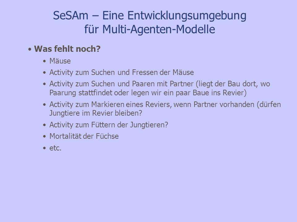 SeSAm – Eine Entwicklungsumgebung für Multi-Agenten-Modelle Was fehlt noch? Mäuse Activity zum Suchen und Fressen der Mäuse Activity zum Suchen und Pa