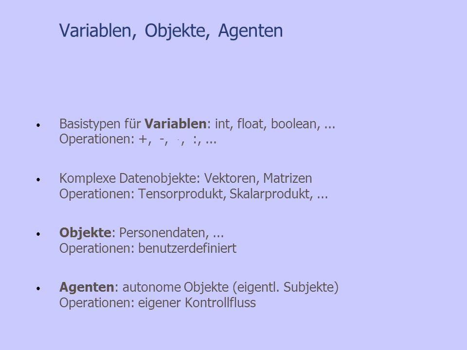 Variablen, Objekte, Agenten Basistypen für Variablen: int, float, boolean,... Operationen: +, -, ּ, :,... Komplexe Datenobjekte: Vektoren, Matrizen Op