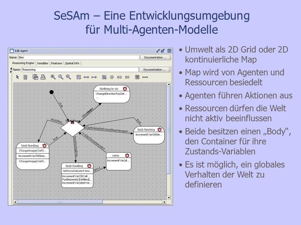 SeSAm – Eine Entwicklungsumgebung für Multi-Agenten-Modelle Agenten Verhalten auf Klassen-Level definiert, Parametrisierung kann aber auf Instanzen-Level erfolgen Definition durch UML- ähnlichen activity-graph Jeder Agent befindet sich in einer activity, die die actions enthält, welche im aktuellen Zeitschritt auszuführen sind Regeln bestimmen den Wechsel zwischen den activities Implementierung erfolgt graphisch über Auswahllisten mit zugehörigen (komplexen) Daten-Typen