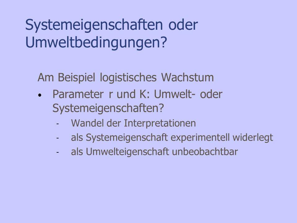 Systemeigenschaften oder Umweltbedingungen? Am Beispiel logistisches Wachstum Parameter r und K: Umwelt- oder Systemeigenschaften? - Wandel der Interp