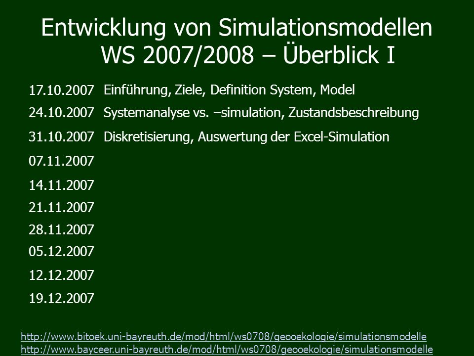 Entwicklung von Simulationsmodellen WS 2007/2008 – Überblick I 17.10.2007 Einführung, Ziele, Definition System, Model 24.10.2007Systemanalyse vs.