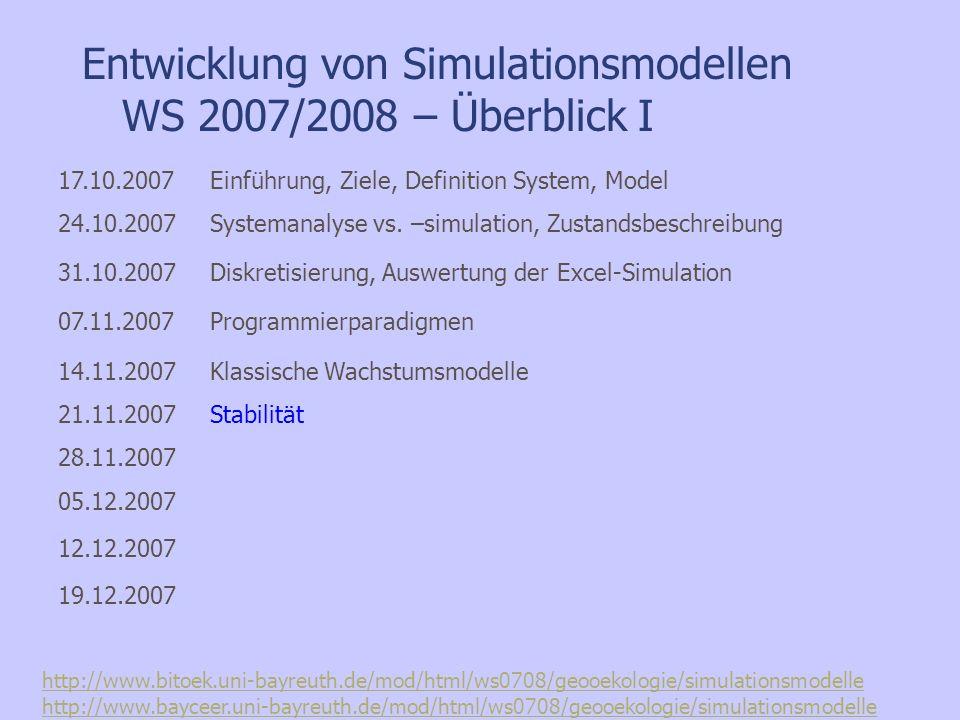 Prinzipielle Fragestellungen zum Verhalten Stationäre Punkte / Gleichgewichte Stabilität (in GG-Nähe) Qualitatives Verhalten: regulär/periodisch/chaotisch ?