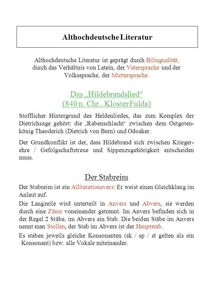 Die Merseburger Zaubersprüche und der Wurmsegen Es handelt sich um rituelle Kleintexte, um Relikte germanischen Brauchtums.
