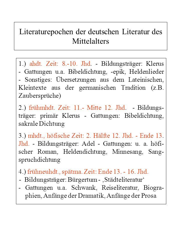 Literaturepochen der deutschen Literatur des Mittelalters 1.) ahdt. Zeit: 8.-10. Jhd. - Bildungsträger: Klerus - Gattungen u.a. Bibeldichtung, -epik,